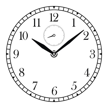 vector clock face and hands Illustration
