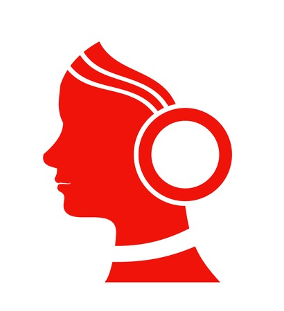 Silhouette girl in headphones on white background. Vector Vector