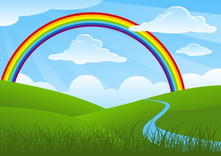 river vector: Summer landscape with rainbow and river