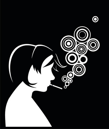 Silhouette of smoking people. Vector Vector
