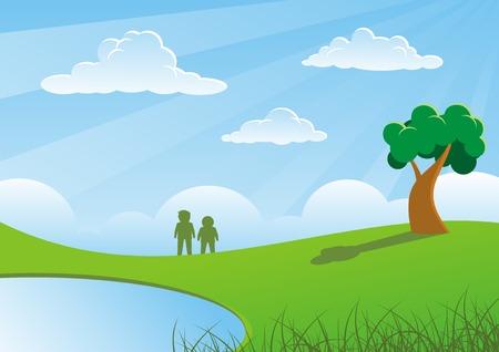 gramineas: Dos personas y �rboles en los pastos