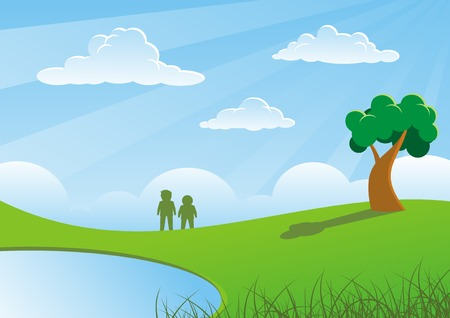 Two people and tree on grasses  Illustration