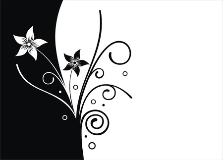 grass line: Black and white flower vector background