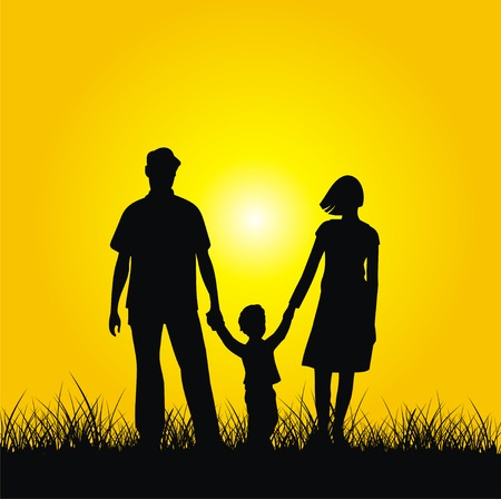 ser padres: Silueta de la familia - madre, padre e hijo. Vector.