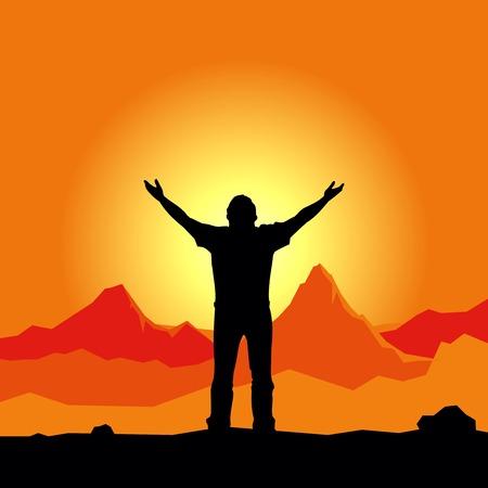 mano de dios: Vector silueta orando hombre