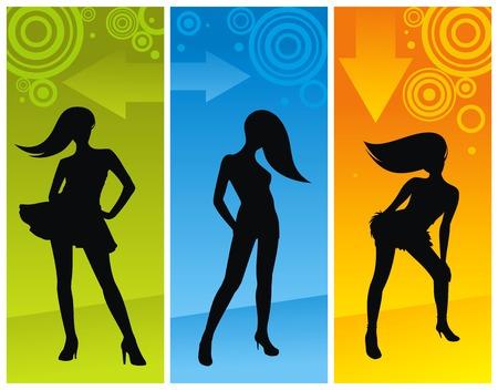 night dress: Silhouette of dancing girls. Vector