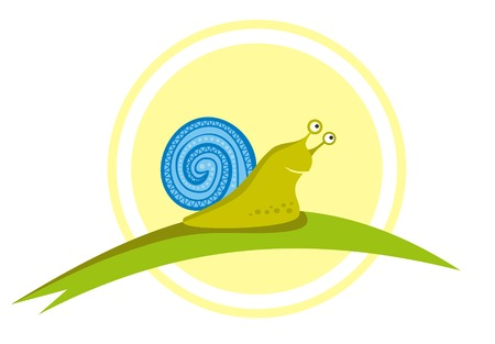 Little vector snail on the green leaf Vector