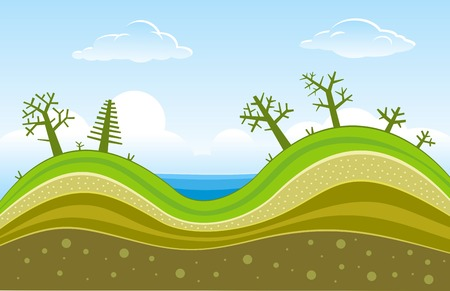 geologic: Vector trees on green hills Illustration