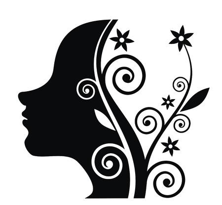 woman background: Flover black girl on white