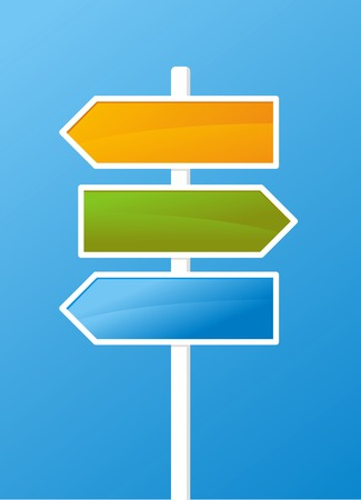 blank road sign: Three vector arrows on blue background Illustration