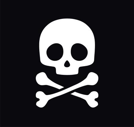 cross bone: Vector skull on black background