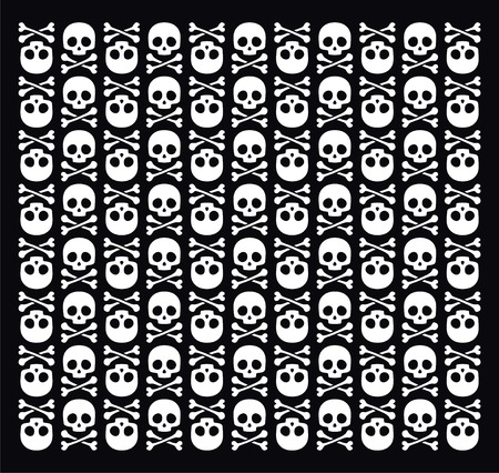 Vector skull pattern on black background Vector