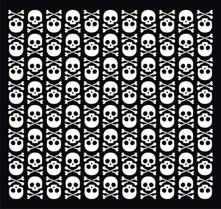 cross bone: Vector skull pattern on black background