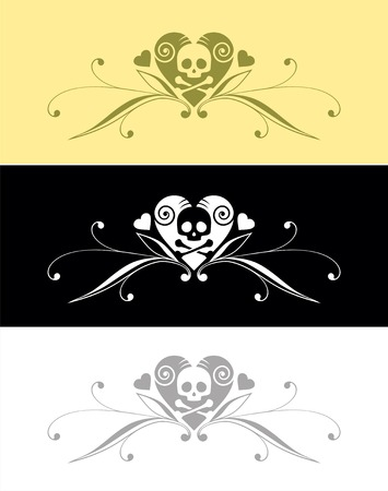 Emblem with heart and skull Vector