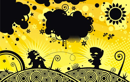 Silhouette two monster on spring background