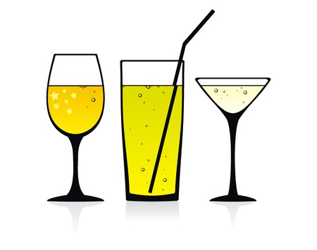 liqueur: Three vector glasses with some drinks