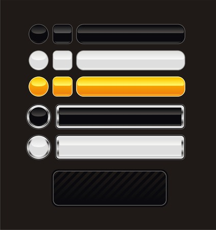 Set of black, white and orange aqua buttons Illustration