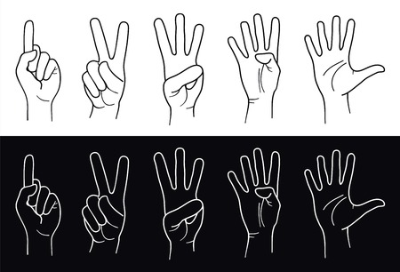 index finger: Counting Hands from one to five. Vector Illustration
