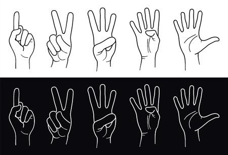 five objects: Mani contare da uno a cinque. Vettore  Vettoriali