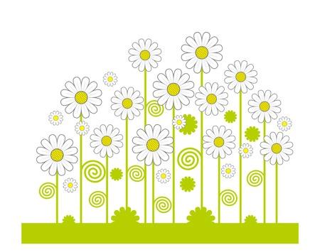 Green Field of flowers. Vector. Stock Vector - 3119139