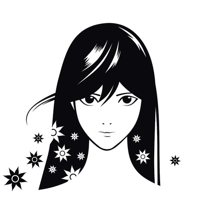 glamour girl with black hairs in anime-style Illusztráció