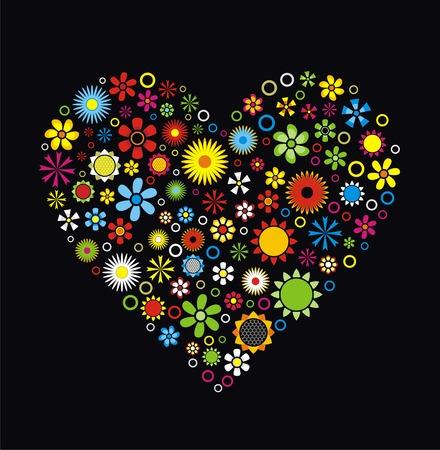 flower icon: Flowers Heart on black background Vector Illustration