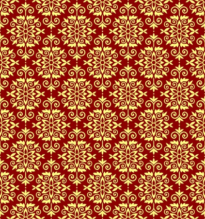 Gold and red vector wallparer pattern Vector