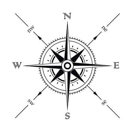 Vector wind rose compass silhouette Vector