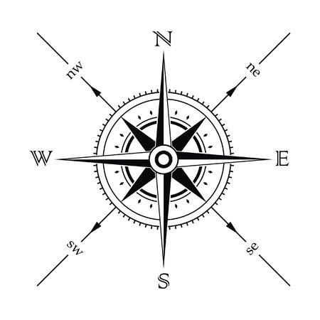 kompassrose: Vector Windrose Kompass Silhouette  Illustration