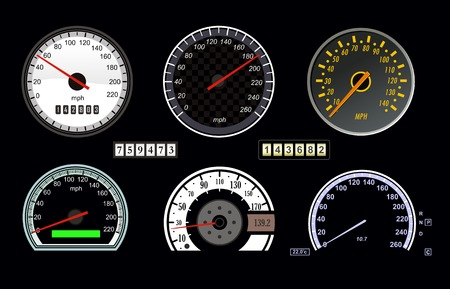 set of vector speedometer and counter Illusztráció