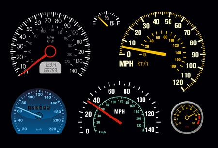 mph: set of vector speedometer and counter Illustration