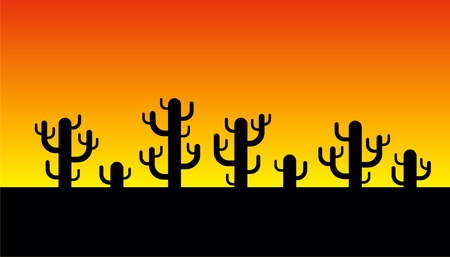 Vector cactus silhouette on sunrise background Vector