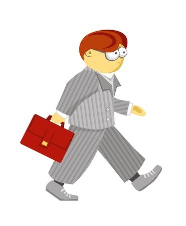 gray suit: Walking man in gray suit with bag