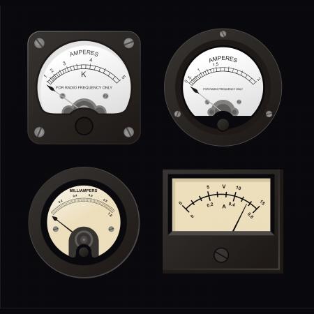 wijzerplaat: Voltmeter, vector-Ampermeter en Microampere Meter  Stock Illustratie