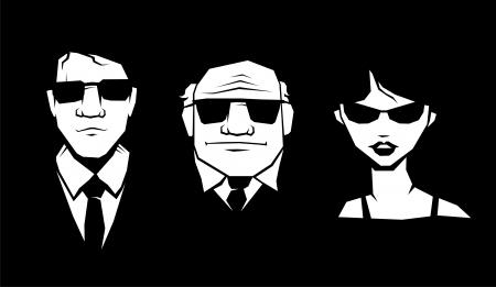 guardaespaldas: Tres persona en gafas y traje. Vector.