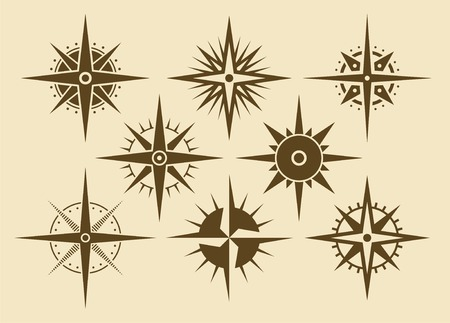 Vector oldstyle wind rose compass set Stock Vector - 3880423