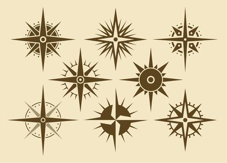 Vector oldstyle wind rose compass set Illustration