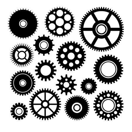 tandwielen: Vector set enkele versnellingen Stock Illustratie