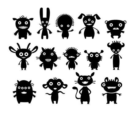 cartoon halloween: Aliens black on white set