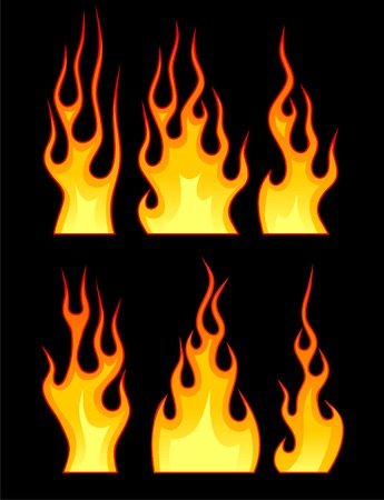 A set of vector flames