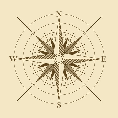 compass rose: Vector oldstyle wind rose compass