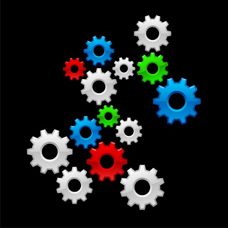Vector color gears on black background Vector