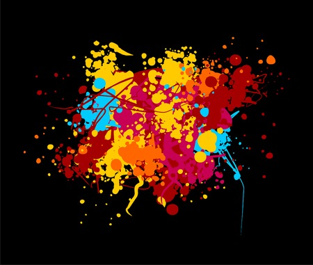splatters: Vector color blob on black background Illustration