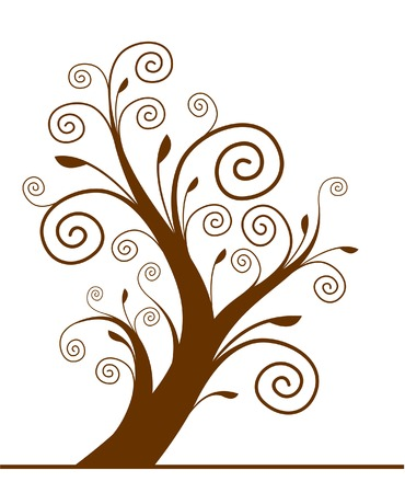Tree silhouette with spiral leaf. Vector. Illustration