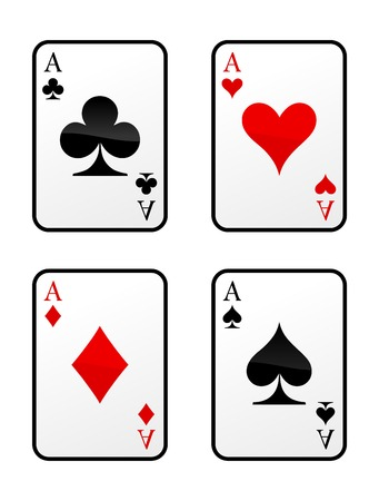 lasvegas: Four vector aces cards on white background