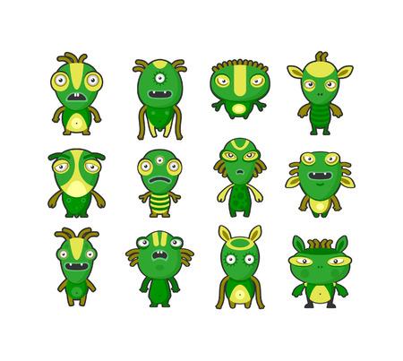 Aliens green on white set