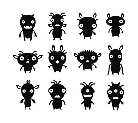 Aliens black on white set   Vector