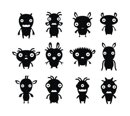 Aliens black on white set Stock Vector - 6109988