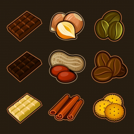 Chocolate and coffee icon set Vector
