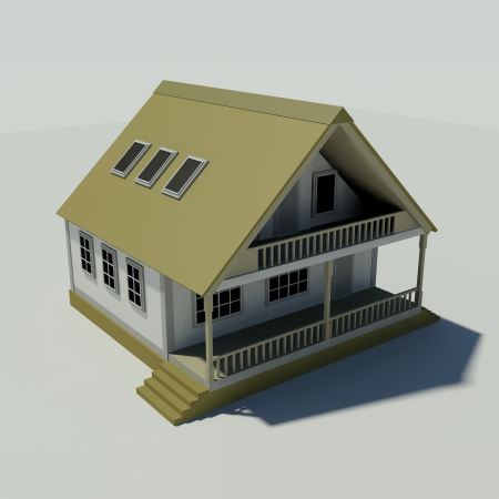 majority: House on a white background  Created in 3D